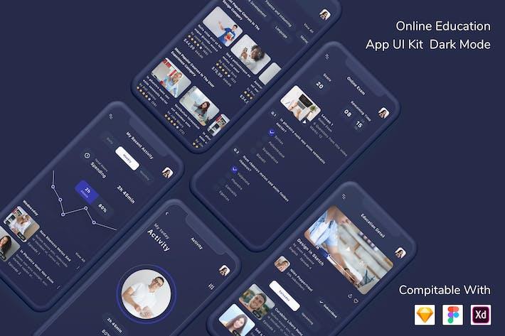 Thumbnail for Online Education App UI Kit Dark Mode