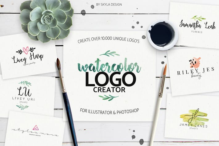 Thumbnail for Premade watercolor logo creator kit