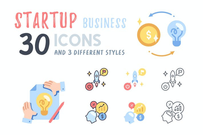 Thumbnail for 30 Startup Business icon set