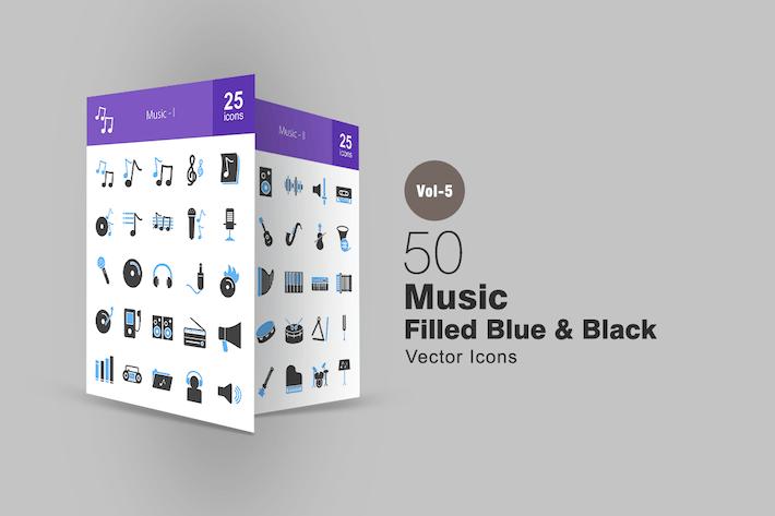 Thumbnail for 50 Music Blue & Black Icons