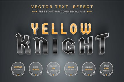 Yellow Knight  - editable text effect,  font style