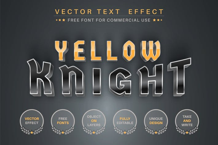 Yellow Knight - редактируемый текстовый эффект, стиль шрифта