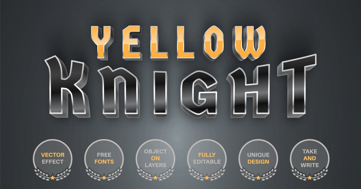 Download Yellow Knight  - editable text effect,  font style by rwgusev