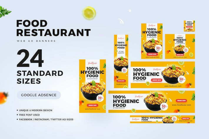 Thumbnail for Food & Restaurant Web Ad Banners