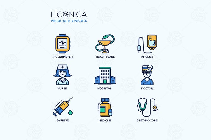 Thumbnail for Medicine - thin line design icons, pictograms