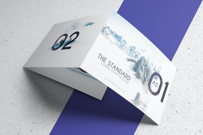 Cover Image For 3xA5 Landscape Trifold Brochure Mock-up V2
