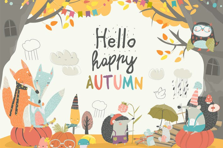 Thumbnail for Funny animals meeting autumn in the forest. Vector