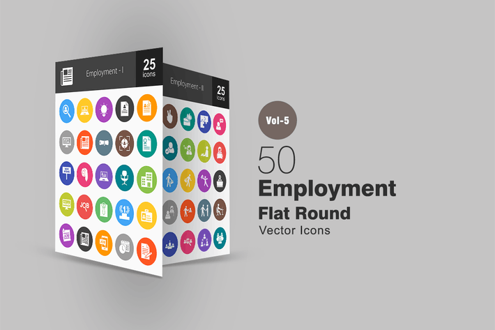 Thumbnail for 50 Employment Flat Round Icons
