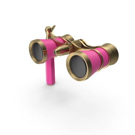 Элегантные розовые оперные очки с ручкой