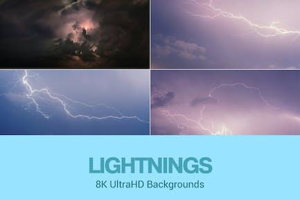 8K UltraHD Lightnings Hintergründe Set