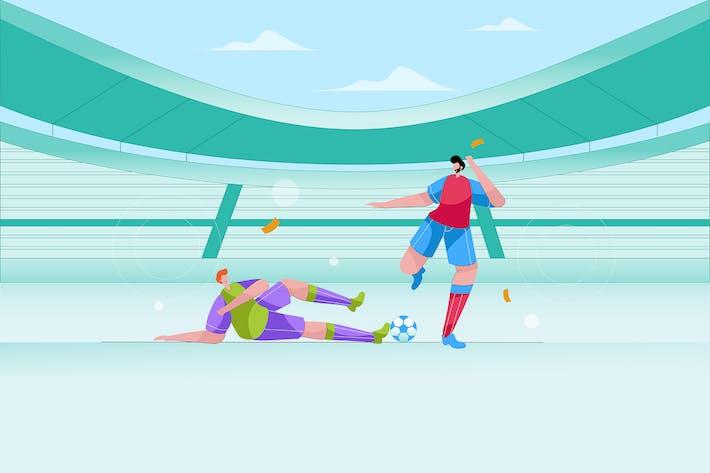 Thumbnail for Двое мужчин играют в футбол - Вектор иллюстрация