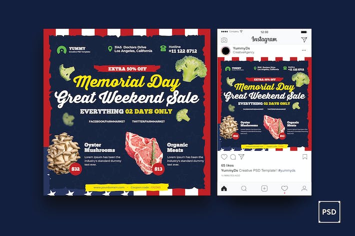 Thumbnail for Organic Market Memorial Day Square Flyer