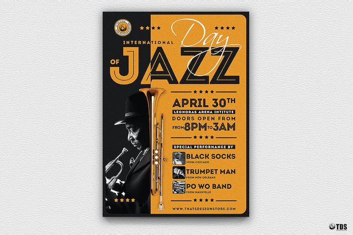 Cover Image For Jazz Day Flyer Template V1