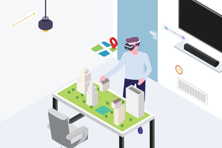 Cover Image For Smart Things with VR AR Isometric Illustration