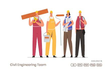 Bauingenieur-Team