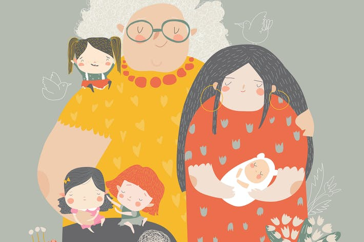 Illustration of three generations of women of diff