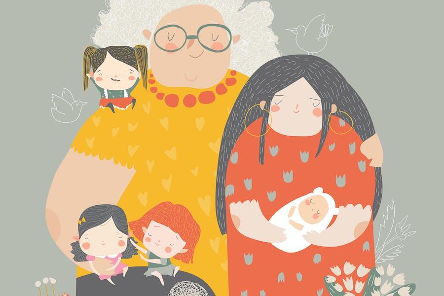 Illustration de trois générations de femmes de diff