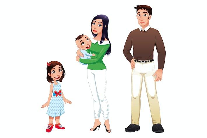 Thumbnail for Menschliche Familie mit Mutter, Vater und Kindern.
