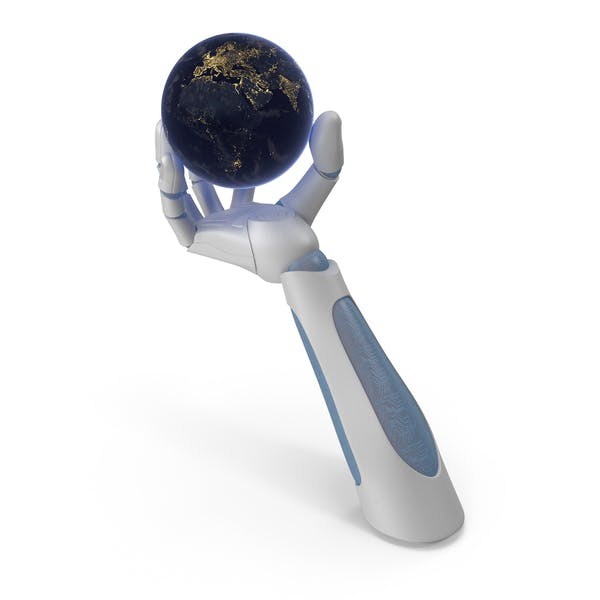 Robohand Holding Tiny Night Earth