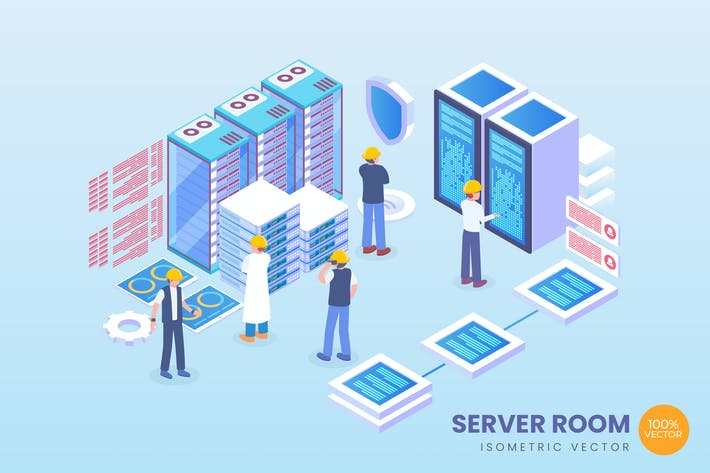 Thumbnail for Isometric Server Room Vector Concept