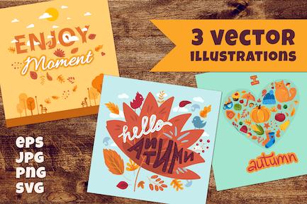 Conjunto de letras de dibujos animados de otoño