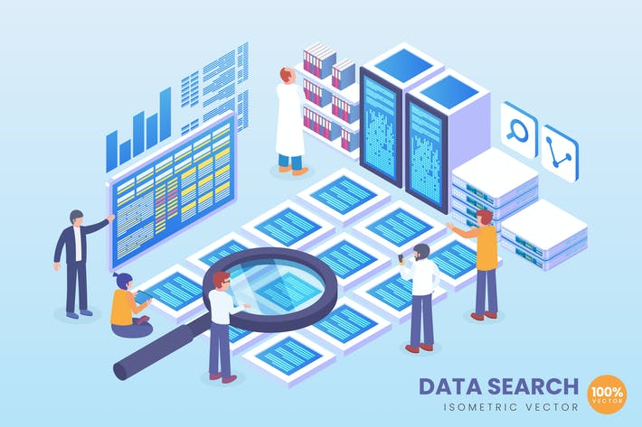 Thumbnail for Isometric Data Search Vector Concept
