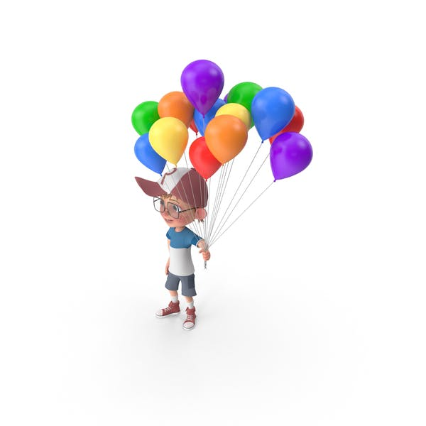 Thumbnail for Cartoon Boy Harry Holding Balloons