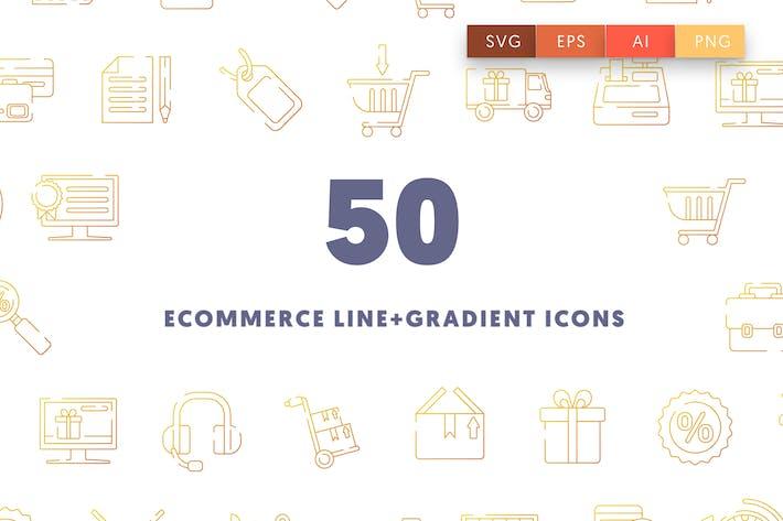 Thumbnail for Иконки линии электронной коммерции и градиента