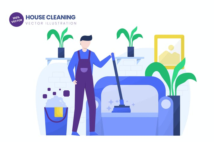 Thumbnail for House Cleaning Flat Vector Illustration
