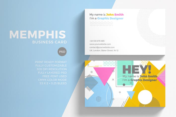 Memphis Business Card Template By Sztufi On Envato Elements - 35 x2 business card template
