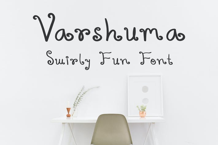 Cover Image For Varshuma - Handwritten Swirly Fun Font