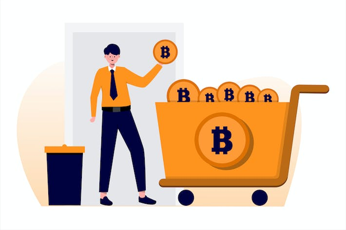 Bitcoin Kaufen Flat Vektor Illustration