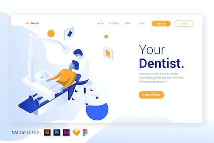 Dentist in Action - Isometric Illustration