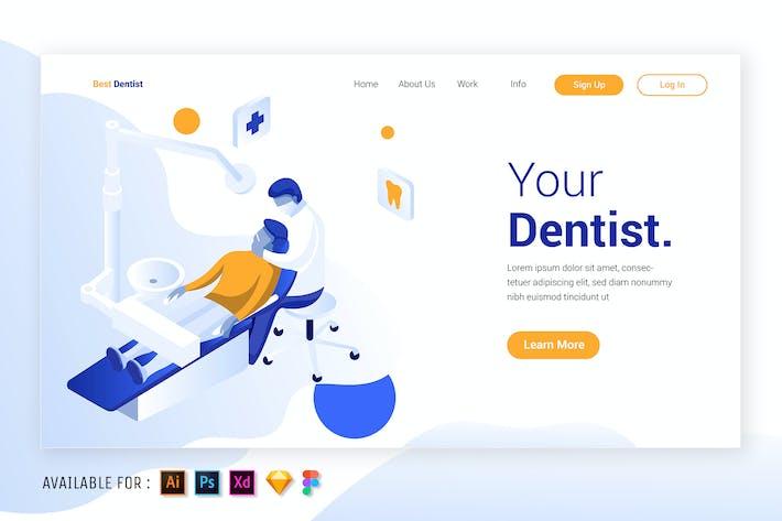 Thumbnail for Dentist in Action - Isometric Illustration
