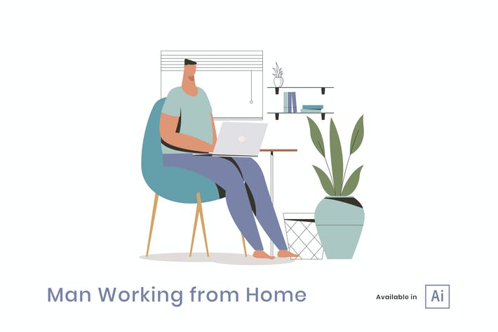Thumbnail for Man Working from Home Illustration