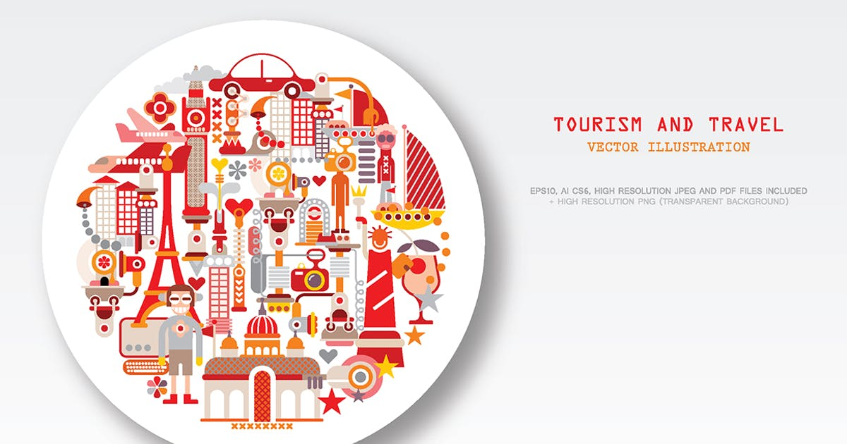 Download Travel and Tourism round shape vector illustration by danjazzia