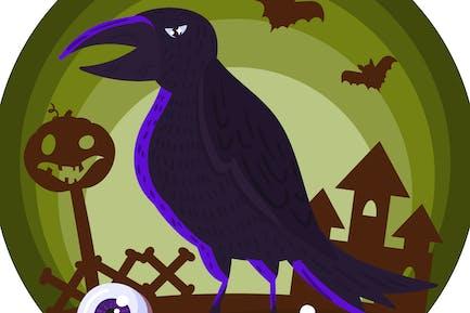 Halloween Horror Raven Illustration