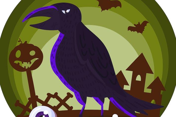 Thumbnail for Halloween Horror Raven Illustration