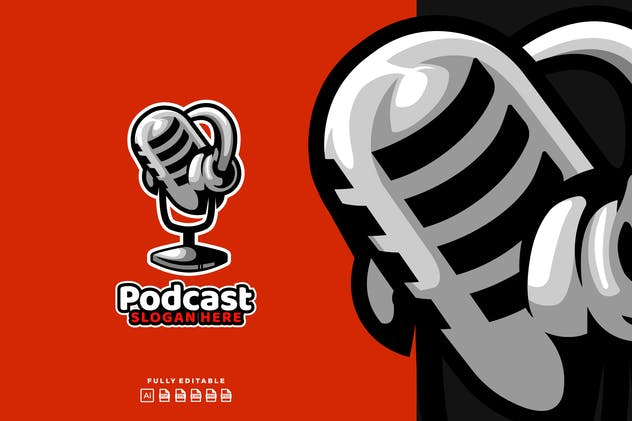 Podcast  Broadcast Mic Logo - product preview 0