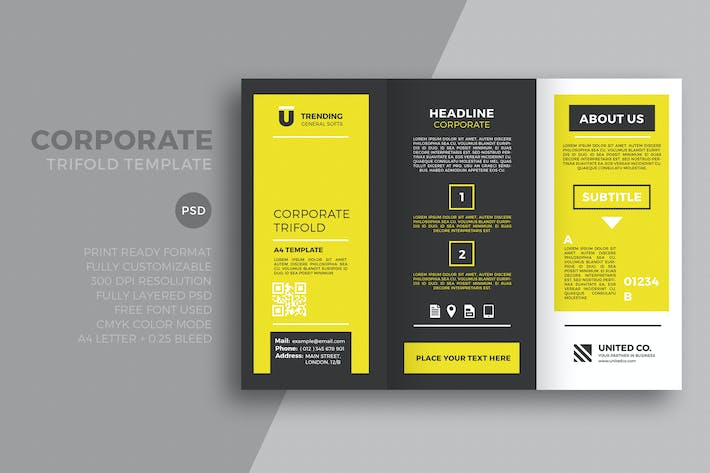 Thumbnail for Yellow  Corporate trifold template