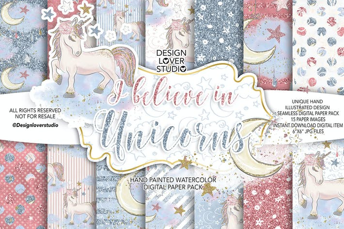 Thumbnail for I believe in Unicorn digital paper pack