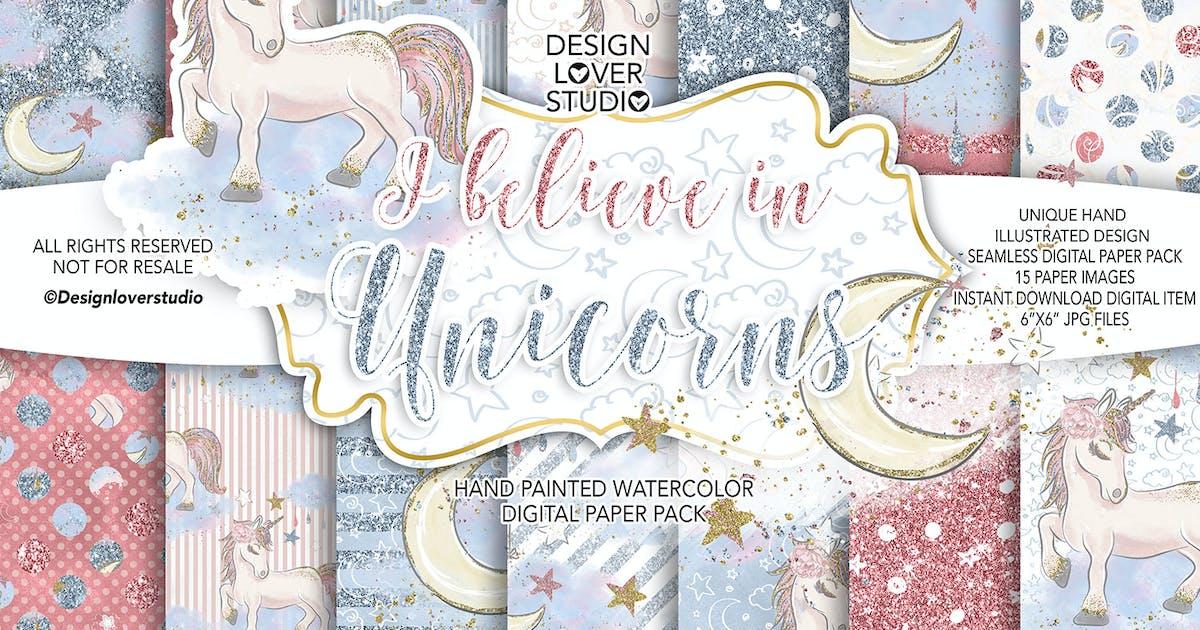 Download I believe in Unicorn digital paper pack by designloverstudio