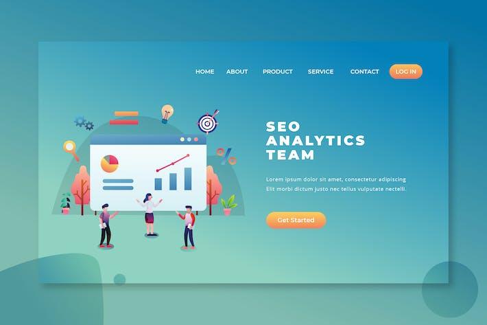 Thumbnail for Equipe analytique SEO - Page de destination PSD et AI Vecteur