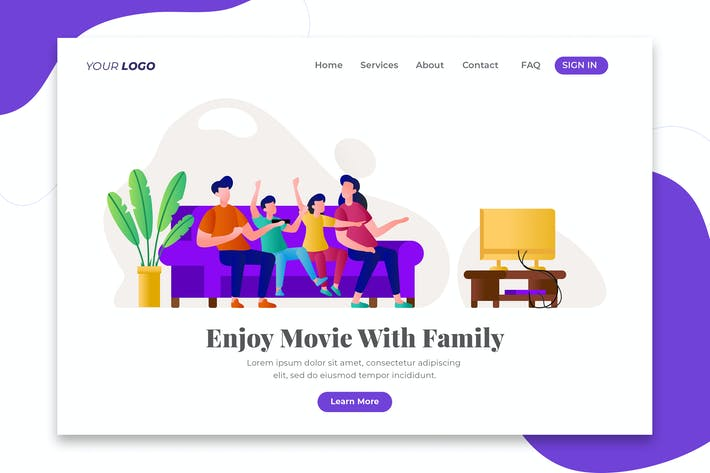 Thumbnail for Happy Family Watching Tv - Web &  Landing Page