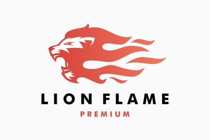 Lion Fire Flame Logo