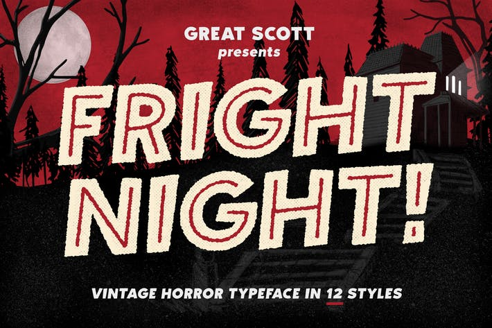 Thumbnail for Fright Night - Vintage horror font!