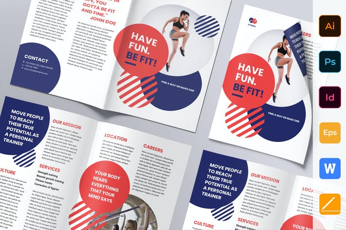 Thumbnail for Fitness Trainer Coach Brochure Bifold