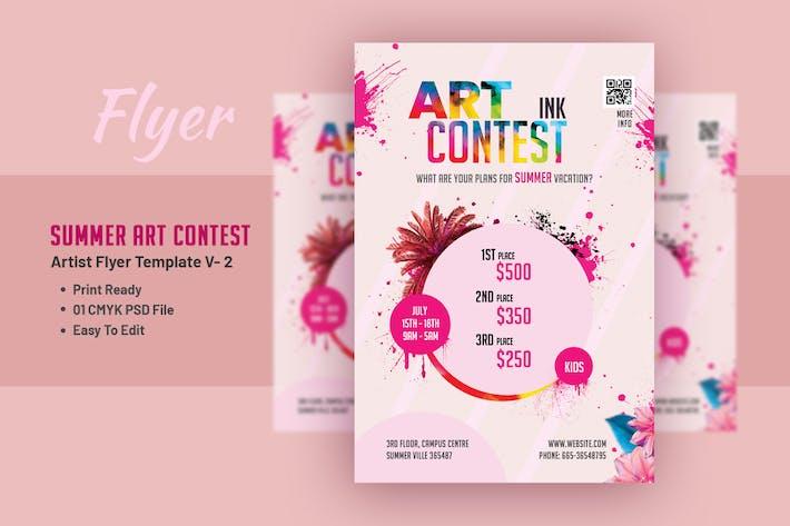 Thumbnail for Summer Art Contest - Artist Flyer Template V- 2