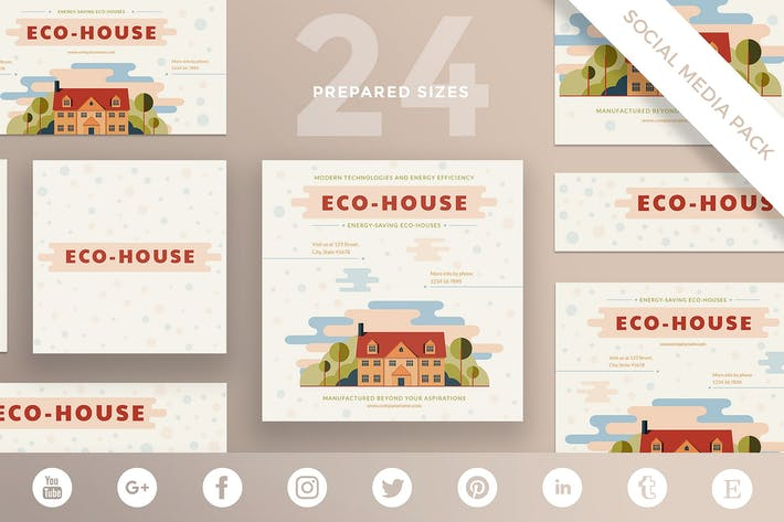 Eco house Social Media Pack Template