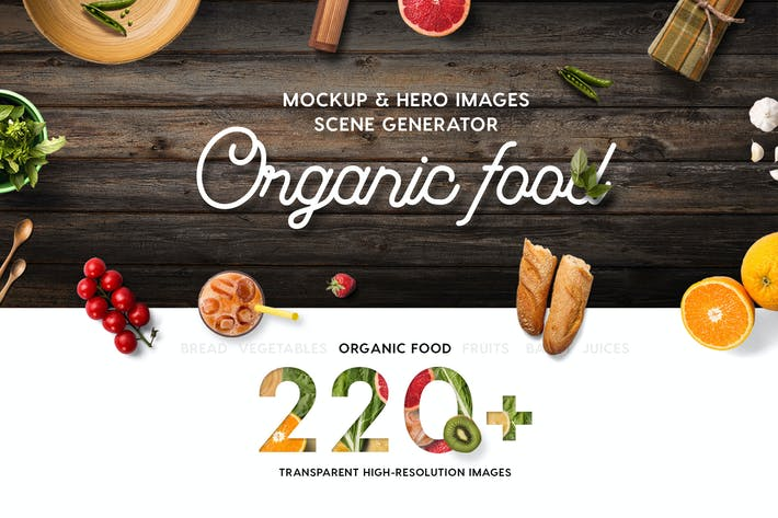 Thumbnail for Organic Food Mockup & Hero Images Scene Generator